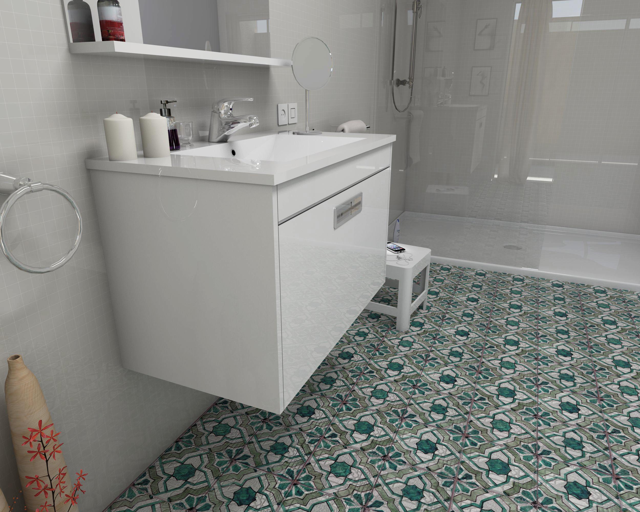 Render mueble lacado blanco Bañopack